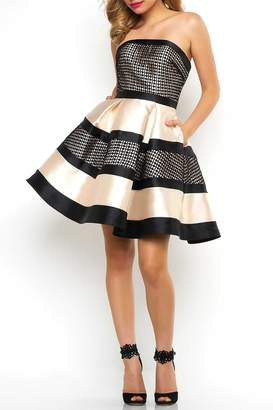 Mac Duggal Diamond Checker Dress