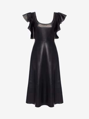 Alexander McQueen Leather Ruffle Midi Dress