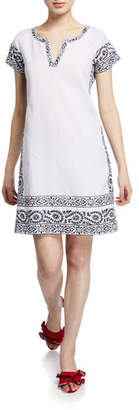 Bella Tu Finley V-Neck Cap-Sleeve Linen Dress with Hand-Embroidered Trim