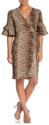 Blvd Leopard Print Faux Wrap Bell Sleeve Dress