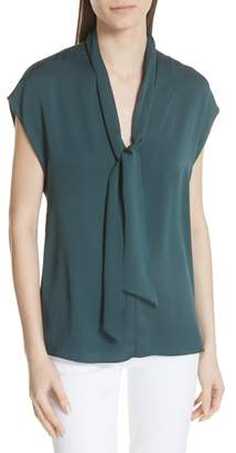 Milly Stretch Silk Tie Neck Top