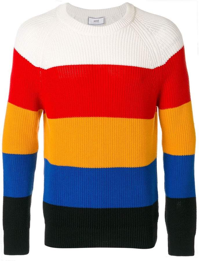 Ami Alexandre Mattiussi striped round-neck jumper