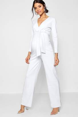 boohoo Maternity Tie Front Plunge Jumpsuit