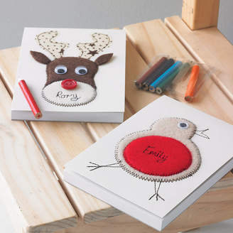 Equipment Zoe Gibbons Personalised Embroidered Robin Or Reindeer Notepad