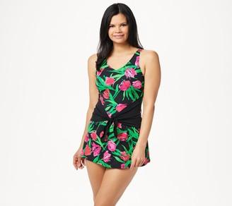 Denim & Co. Beach V-Neck Swim Dress with Cinch Tie Waist