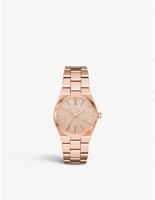 Michael Kors MK6624 Jet Set rose-gold stainless steel and crystal embellishments watch