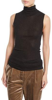 Brunello Cucinelli Turtleneck Sleeveless Metallic-Knit Top