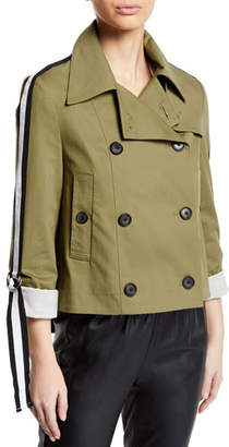 Veronica Beard Mert Cropped Jacket with Belted Sleeves
