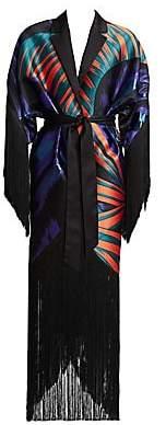 Ralph and Russo Women's Jacquard Paneled Fringe Jacket