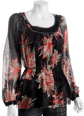 Elie Tahari black floral chiffon 'Lucille' blouse