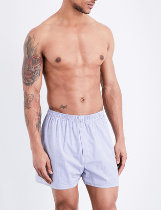 Sunspel Pinstripe cotton boxer shorts $33 thestylecure.com
