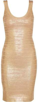 Herve Leger Catherine Metallic Coated Bandage Mini Dress
