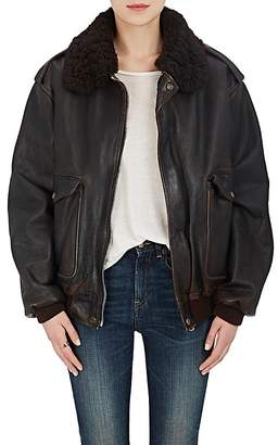 R13 Women's Shearling Collar Bomber Jacket