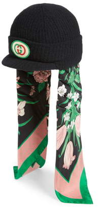 Gucci Wool Cap with Silk Scarf Earflaps