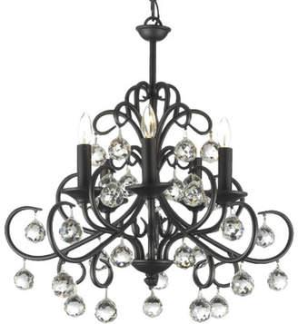 Rosdorf Park Clemence 5-Light Wrought Iron Base Crystal Chandelier