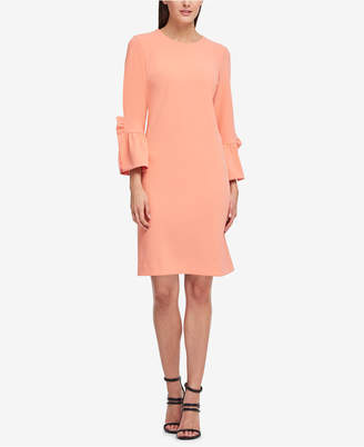 DKNY Ruffle-Sleeve Scuba Shift Dress, Created for Macy's