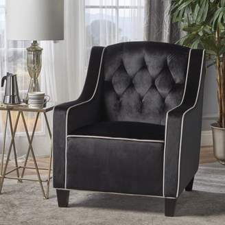 Noble House Jase Two Tone Tufted New Velvet Club Chair, Black, Pearl, Dark Brown