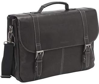 "Heritage Travelware Heritage Colombian Leather Dual Compartment Flapover 16"" Computer Business Portfolio / Briefcase - Black"