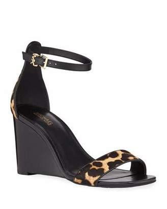 MICHAEL Michael Kors Fiona Leopard Calf Hair Wedge Sandals