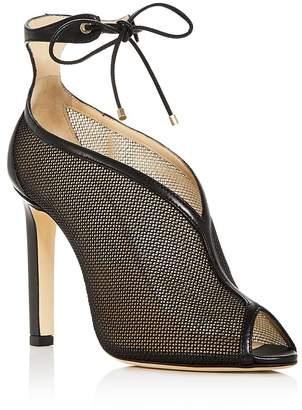 Jimmy Choo Women's Sheldon 100 Leather & Mesh Ankle Tie High-Heel Booties