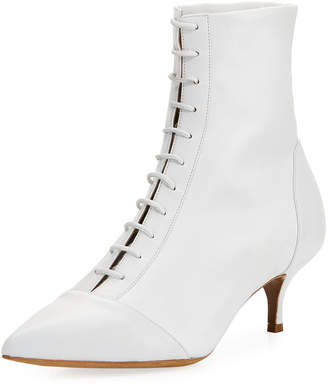 Tabitha Simmons Emmet Leather Point-Toe Lace-Up Ankle Boot
