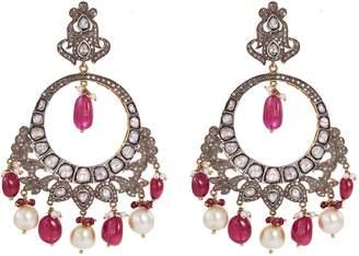 Aishwarya Diamond ruby pearl gold alloy fringe hoop earrings