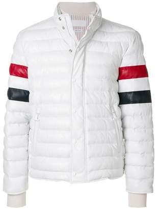 Thom Browne Downfilled Leather Ski Jacket W/ Front Guard & RWB Sleeves In Deerskin