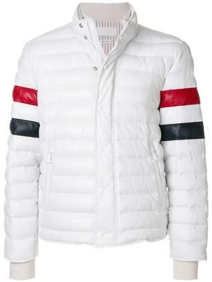 Thom Browne Downfilled Leather Ski Jacket W/ Front Guard & RWB Sleeves In Deerskin