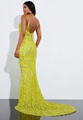 Missguided Yellow Sequin Embellished Fishtail Maxi Dress, Yellow