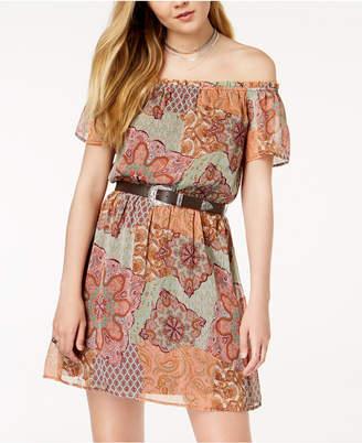 Fishbowl Juniors' Printed Belted Off-The-Shoulder Dress