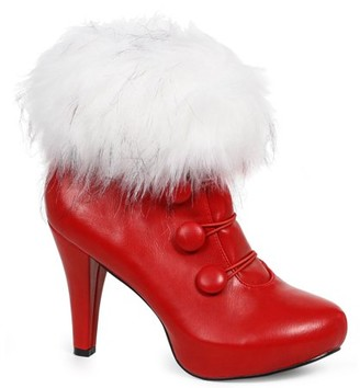 ELLIE Women's Red Ankle Boots with Faux Fur