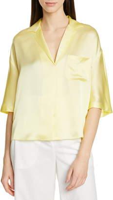 Vince Short Sleeve Silk Pajama Shirt