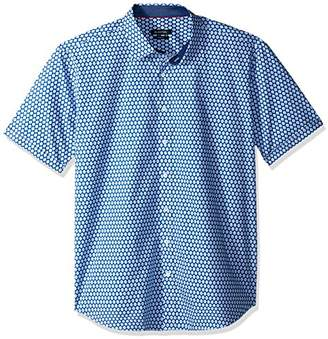 Bugatchi Men's Fitted Short Sleeve Geo Pattern Print Collar Shirt