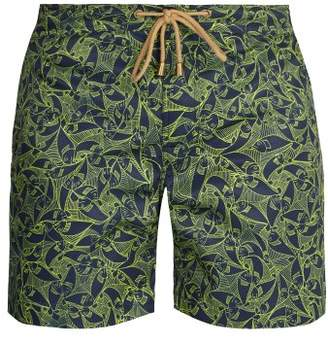 Thorsun - Titan Fit Pescado Print Swim Shorts - Mens - Green Multi
