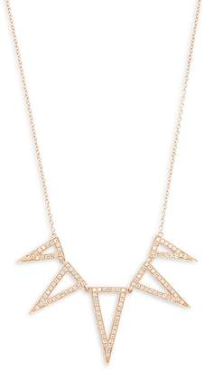 Ef Collection Women's Diamond & 14K Rose Gold Triangle Necklace