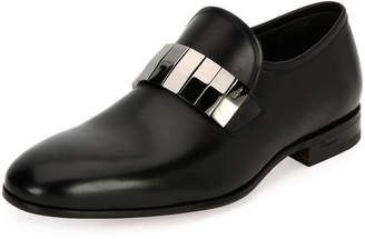 Salvatore Ferragamo Men's Broken-Mirror Leather Formal Loafer, Black