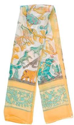 Hermes Early America Silk Mousseline Shawl