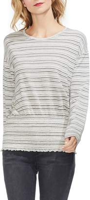 Vince Camuto Stripe Jersey Smocked Top