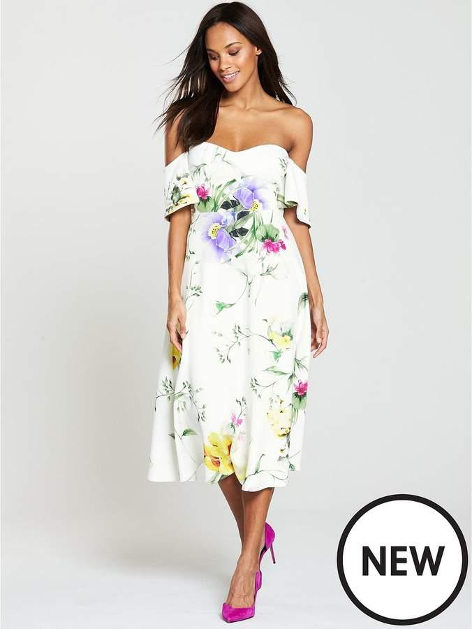 Printed Scuba Prom Dress - Ivory