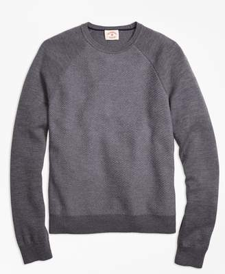 Brooks Brothers Merino Wool Diagonal Texture Raglan Crewneck Sweater