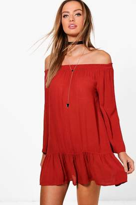 boohoo Flute Sleeve Off The Shoulder Dress