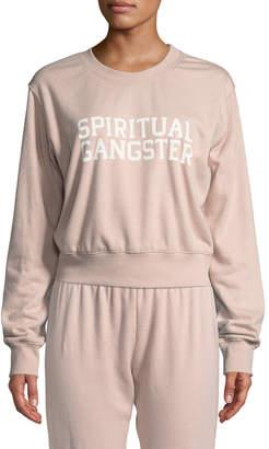 Spiritual Gangster Varsity Cropped Logo Pullover Sweatshirt