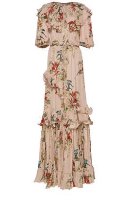 Johanna Ortiz Queen Of Sheeba Ruffled Printed Silk-Georgette Gown