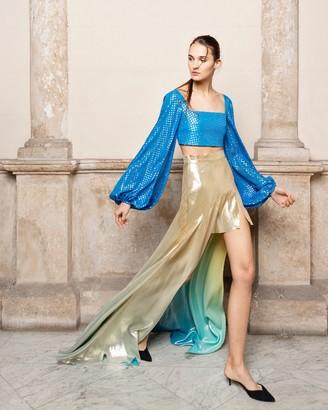 Adriana Iglesias Anta Asymmetrical Silk Lame Skirt
