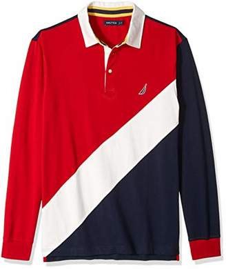 Nautica Men's Big and Tall Long Sleeve Classic Fit Pieced Souvenir Polo Shirt, red, 3XLT