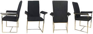 One Kings Lane Vintage Brass & Black Dining Chairs - Set of 4