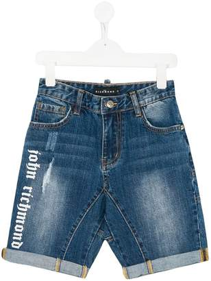 John Richmond Kids logo print denim shorts