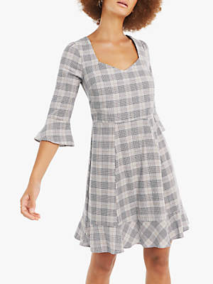 Oasis Prince Of Wales Check Dress, Multi Grey