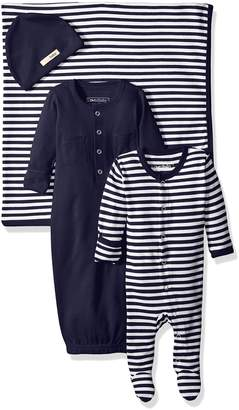 L'ovedbaby Baby Organic Footed Overall, Gown, Blanket, and Hat Gift Set