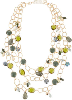 Lydell NYC Multi-Strand Stone Necklace, Green